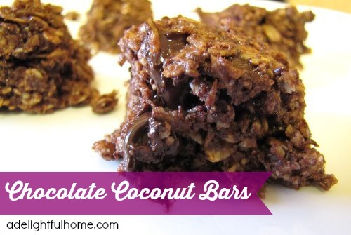Chocolate Coconut Oat Bars (a nutritiously sweet treat) | aDelightfulHome.com