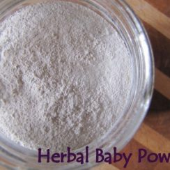 """Close up image of white powder in a jar. Text overlay says, """"Herbal baby Powder""""."""