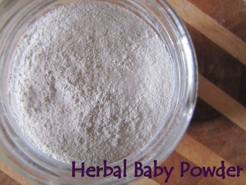 "Close up image of white powder in a jar. Text overlay says, ""Herbal baby Powder""."