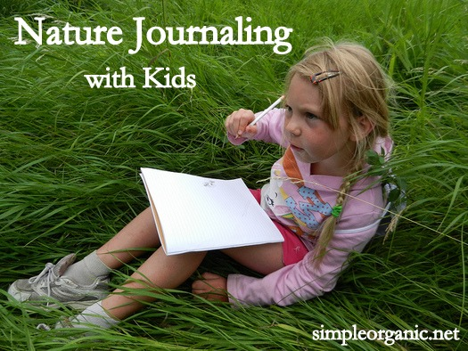 "Image of a child sitting in tall grass with a journal on her lap. Tex overlay says, ""Nature Journaling with Kids""."
