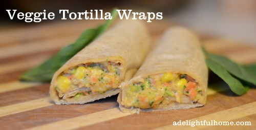 quick and easy veggie tortilla wraps