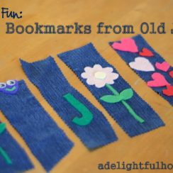 Frugal Family Fun: Make Bookmarks from Old Jeans | aDelightfulHome.com