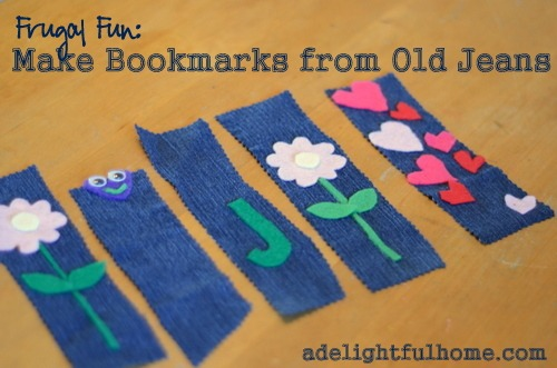 Frugal Family Fun: Make Bookmarks from Old Jeans - A Delightful Home