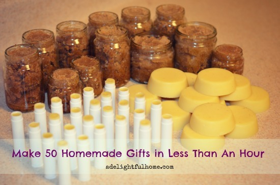"Image of assorted homemade body scrubs, lip balms, and lotion bars. Text overlay says, ""50 Homemade Gifts in Less than an Hour""."