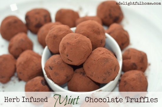 herb infused chocolate truffles with mint