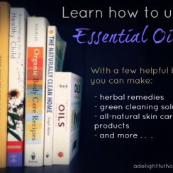 "Image of books in a bookshelf. Text overlay says, ""Learn How to Use Essential Oils""."