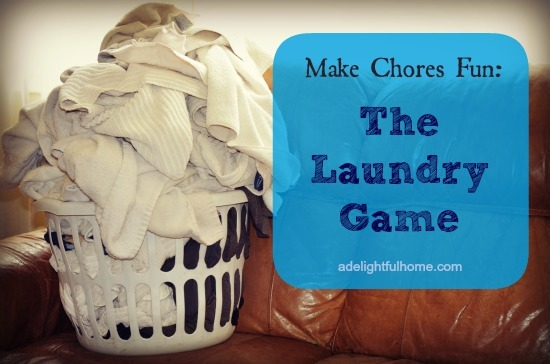 "Image of an overflowing hamper of laundry sitting on a couch. Text overlay says, ""Make Chores Fun - The Laundry Game""."