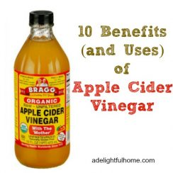 "A bottle of Bragg's Apple Cider Vinegar with a text overlay that says, ""10 Benefits (and uses) of Apple Cider Vinegar""."
