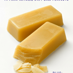 """Two bars of beeswax with beeswax shavings in the foreground. Text overlay says, """"How to Use Beeswax in Natural Body Care Products""""."""
