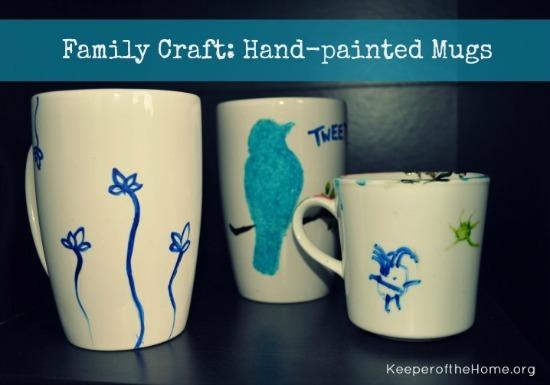 Family craft - hand-painted mugs