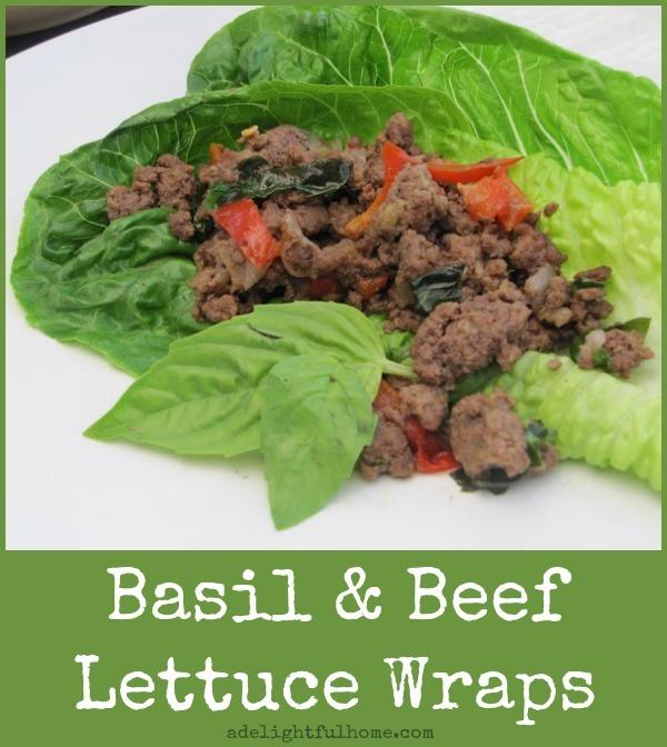 basil beef lettuce wraps - adelightfulhome.com