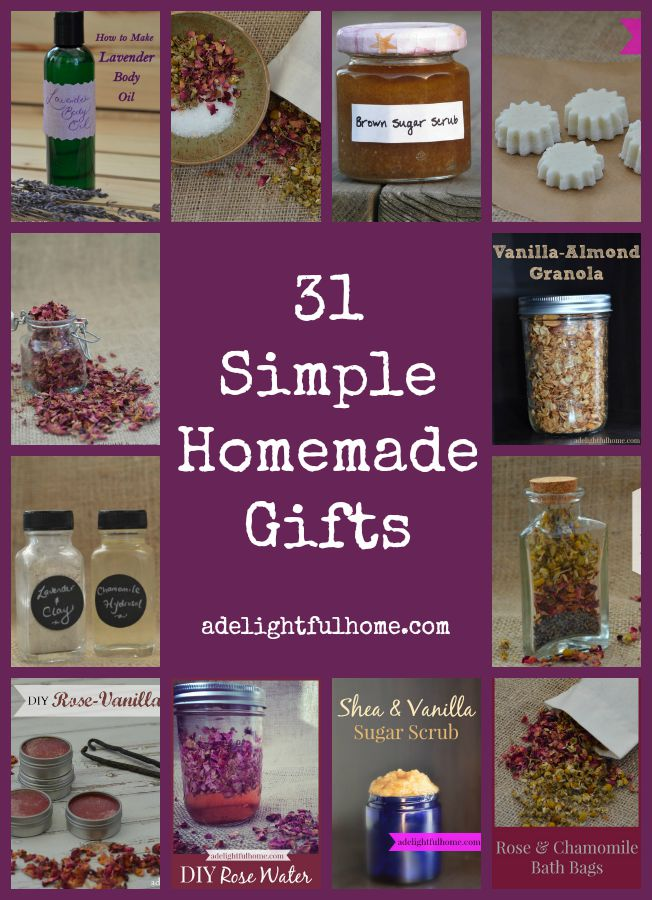 "Pinterest pin containing several images showing examples of finished gifts. Text overlay says, ""31 Simple Homemade Gifts""."