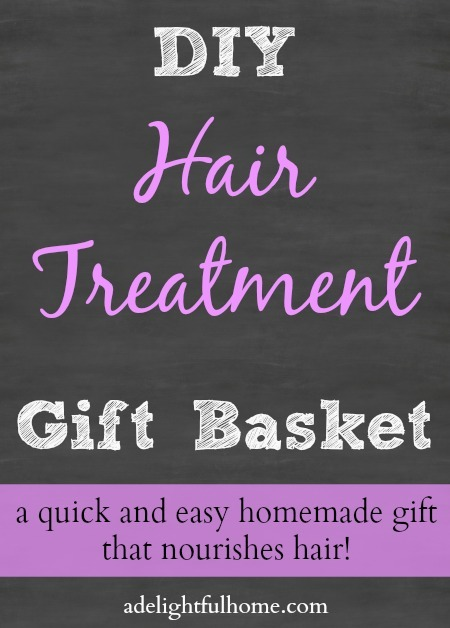 """Image of a chalkboard background with white and lavender text that says, """"DIY Hair Treatment Gift Basket""""."""