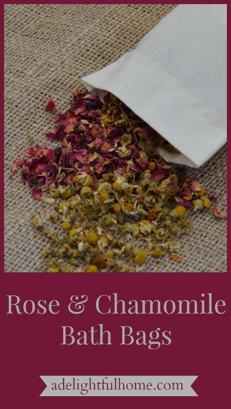 Image of a sachet with dried rose petals and chamomile flowers spilling out onto a burlap surface. Text