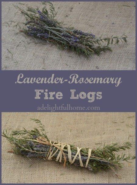 "Pinterest pin with two images. Top image is a bundle of lavender, and bottom image is a bundle of lavender and rosemary together. Text overlay says, ""Lavender-Rosemary Fire Logs""."