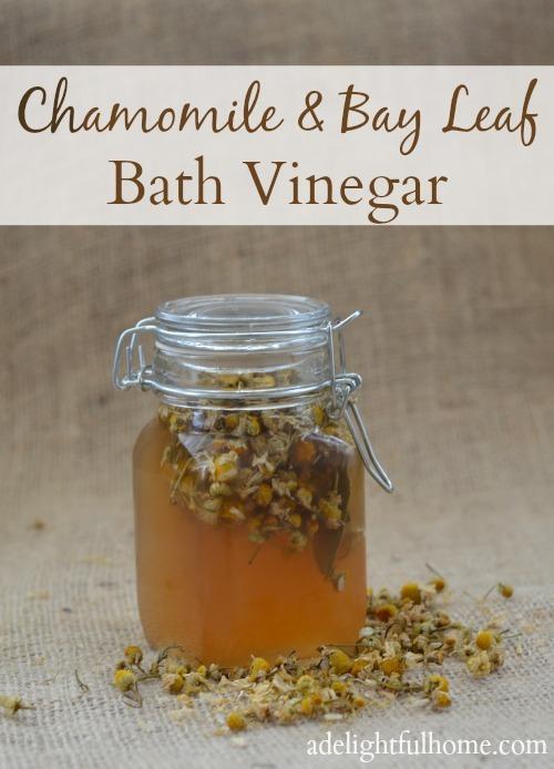 chamomile and bay leaf bath vinegar - A Delightful Home