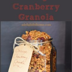 "Square jar filled with homemade granola. Text overlay says, ""Orange Cranberry Granola""."