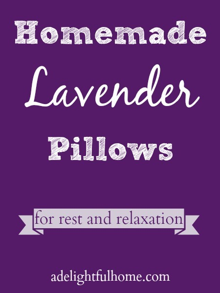 "Image of a purple background with white text overlay that says, ""Homemade Lavender Pillows""."
