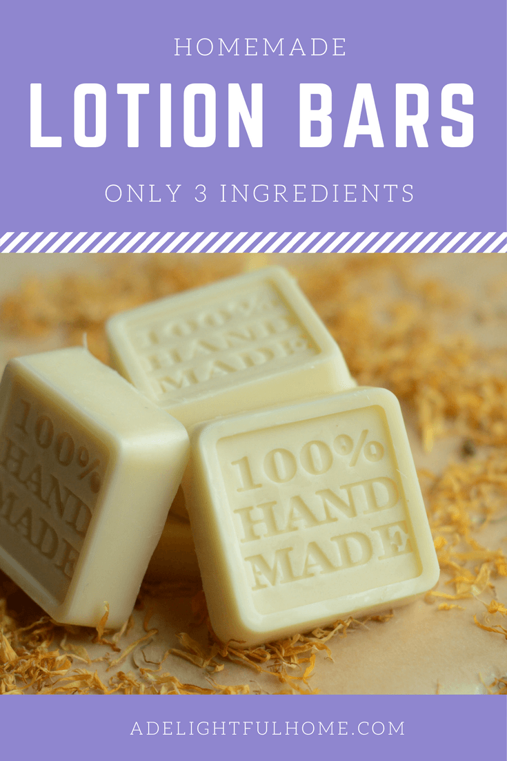 "Three lotion bars displayed to show a hand stamping that says ""100% Handmade"". Text overlay says, ""Homemade Lotion Bars - Only Three Ingredients""."