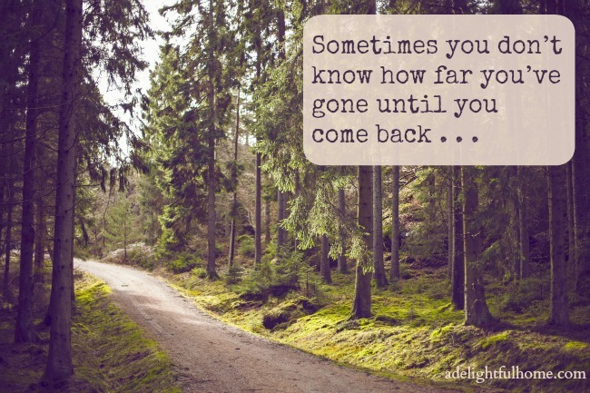 Sometimes you don't know how far you've gone until you come back . . . | aDelightfulHome.com