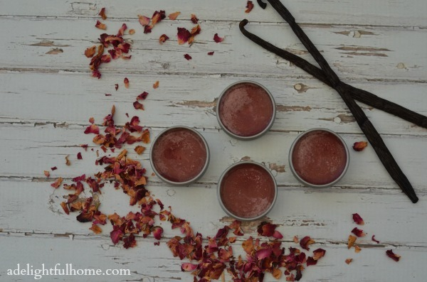 rose-infused lip balm
