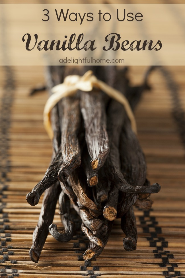 "Close up image of vanilla beans bound with twine. Text overlay says, ""Three Ways to Use Vanilla Beans""."