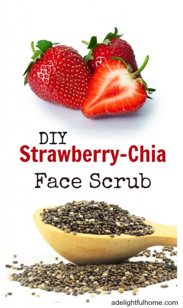 DIY Strawberry Chia Face Scrub | ADelightfulHome.com