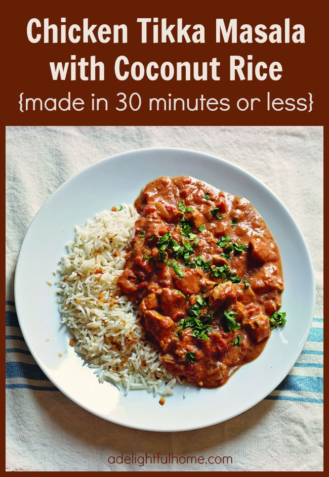 chicken tikka masala with coconut rice