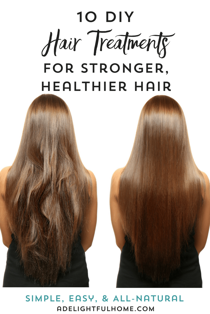 "Picture of two heads of long straight hair. The one on the left is tangled and messy, and the one on the right is smooth and shiny. Text overlay says, ""10 DIY Hair Treatments for Stronger Healthier Hair""."