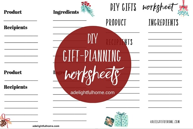Gift Planning Worksheets {Especially for DIY Gifts} | aDelightfulHome.com