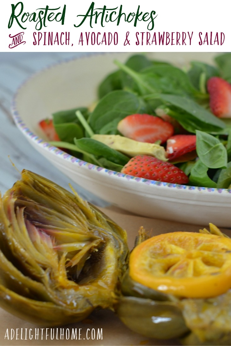 Roasted Artichokes and Spinach Strawberry Salad (1)