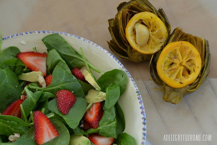 roasted artichokes and spinach salad