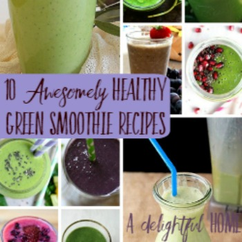 "Pinterest pin with several assorted images of colorful smoothies, decoratively garnished, and served in frosty glasses. Text overlay says, ""10 Awesomely Healthy Green Smoothie Recipes""."