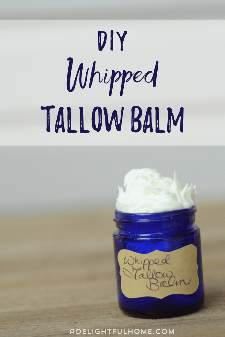 "Image of a cobalt jar overflowing with whipped balm. Text overlay says, ""DIY Whipped Tallow Balm""."