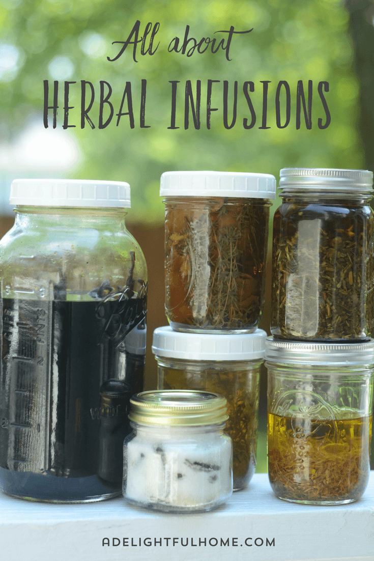 "Assorted sizes of jars filled with herbal infusions. Text overlay says, ""All About Herbal Infusions""."
