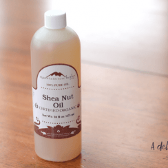 Shea nut oil in bottle