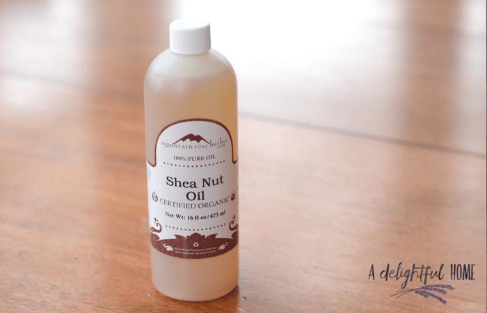 Shea nut oil in bottle