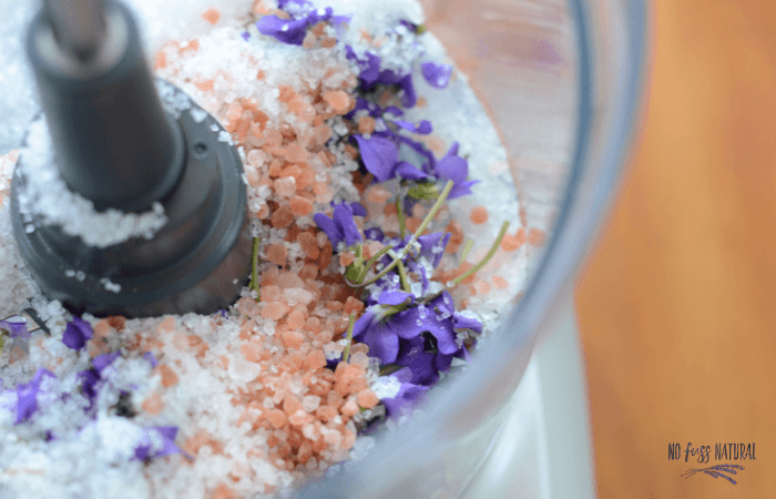 violet bath soak ingredients in food processor - pink salt, seas salt, fresh violets