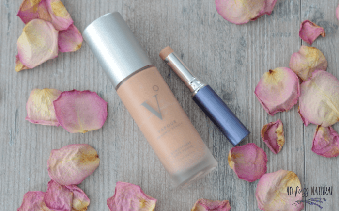 natural non-toxic foundation in glass bottle with a tube of concealer