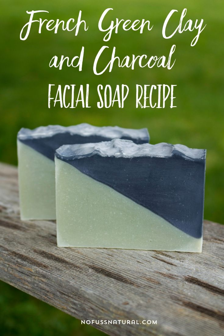 "Two bars of two toned facial soap staggered in front of one another. Text overlay says, ""French Clay and Charcoal Facial Soap Recipe""."