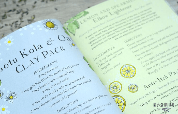 illustrated pages from botanical skin care recipe book