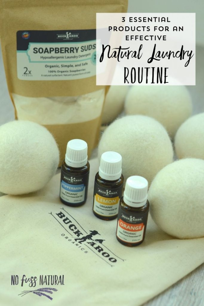 natural laundry soap, dryer balls and essential oils